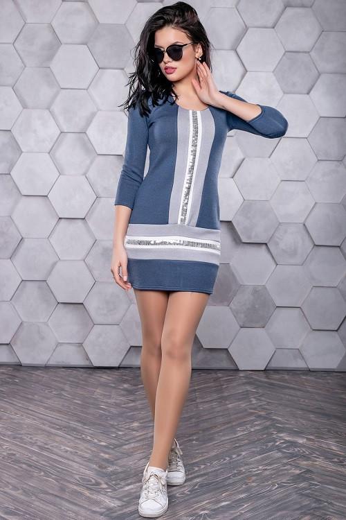 Приталенное платье 3157+Н синий-серый (S-L)