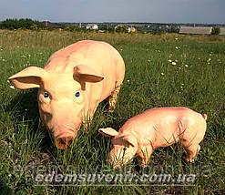 Садовая фигура Свинья большая и Кабанчик средний, фото 3