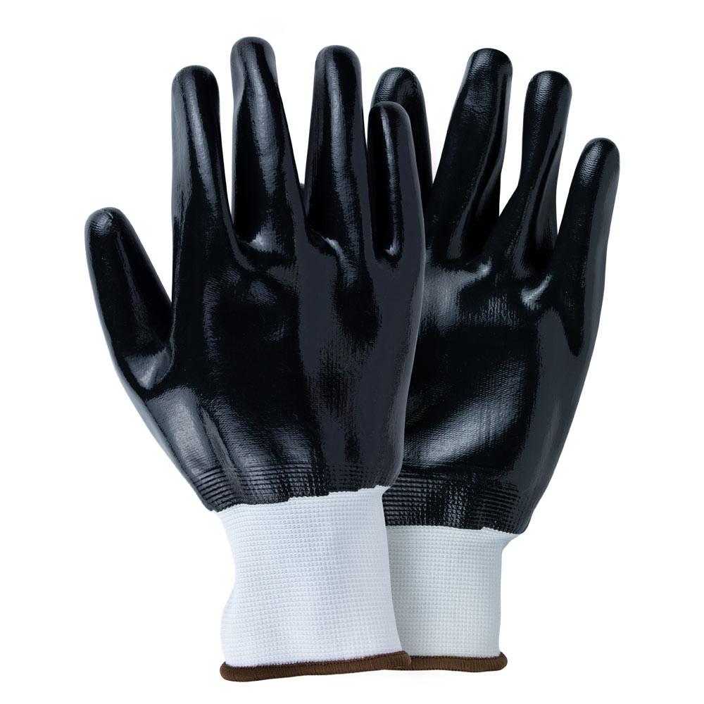 Рукавички трикотажні з повним нітриловим покриттям р10 (чорні манжет) Sigma 9443561