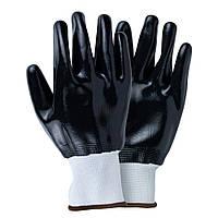 Перчатки трикотажные с полным нитриловым покрытием р10 (черные манжет) Sigma 9443561