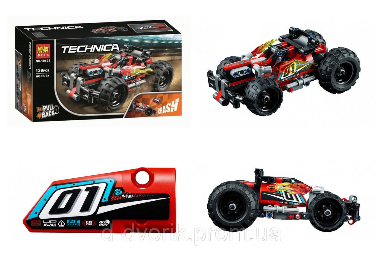 """Конструктор """"TECHNIC"""" """"Красный гоночный автомобиль"""" 139дет. В кор. 26*14*7см. /72-2/"""