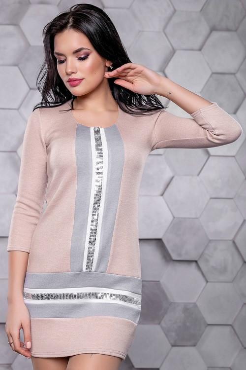 Приталенное платье 3155+Н персик-серый (S-L)