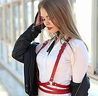 Женская портупея двойная обмотка с кольцами красная 930746