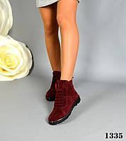 Демісезонні ботинки на прихованій шнурівці, натуральна замша, марсала, фото 1