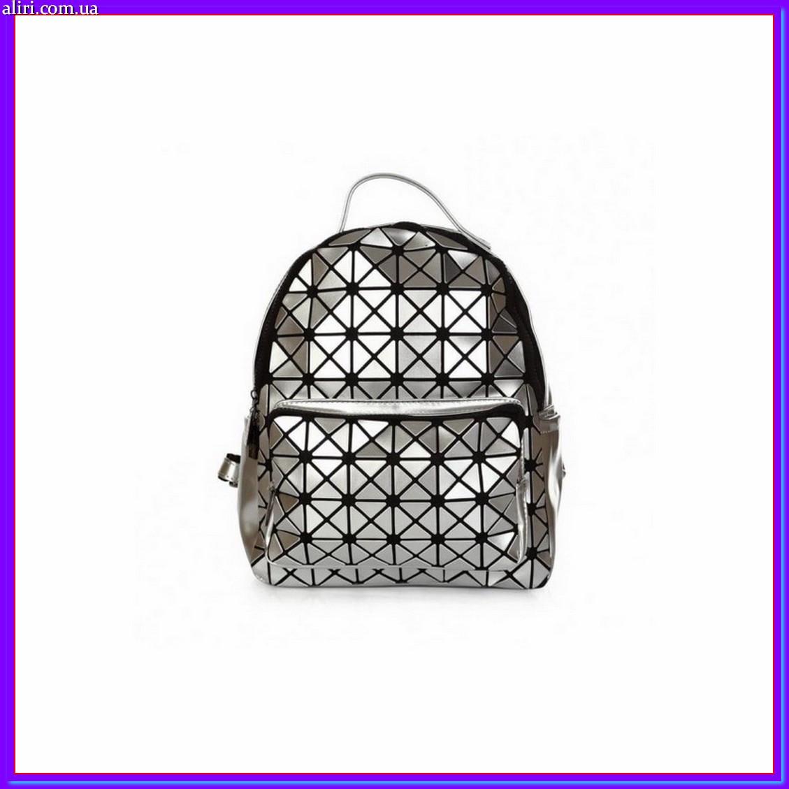 Стильный рюкзак городской женский мини серебро