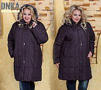 Женская теплое пальто на зиму с натуральным мехом Супербатальные размеры  58-66 DGд9126 af4535ce705a5