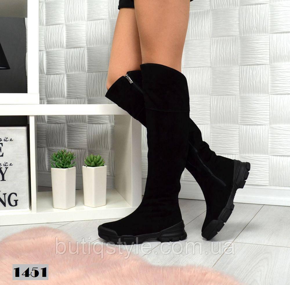 Удобные женские ботфорты на платформе черные натуральная замша