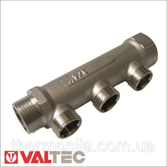 "VTc.500.N Коллектор для воды с наружной резьбой, 3 выхода х1""х1/2"" (никель)"