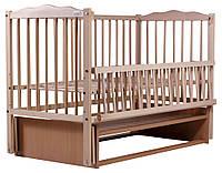 Детская кроватка из БУКА  без лака(с маятником) боковина ОТКИДНАЯ, фото 1