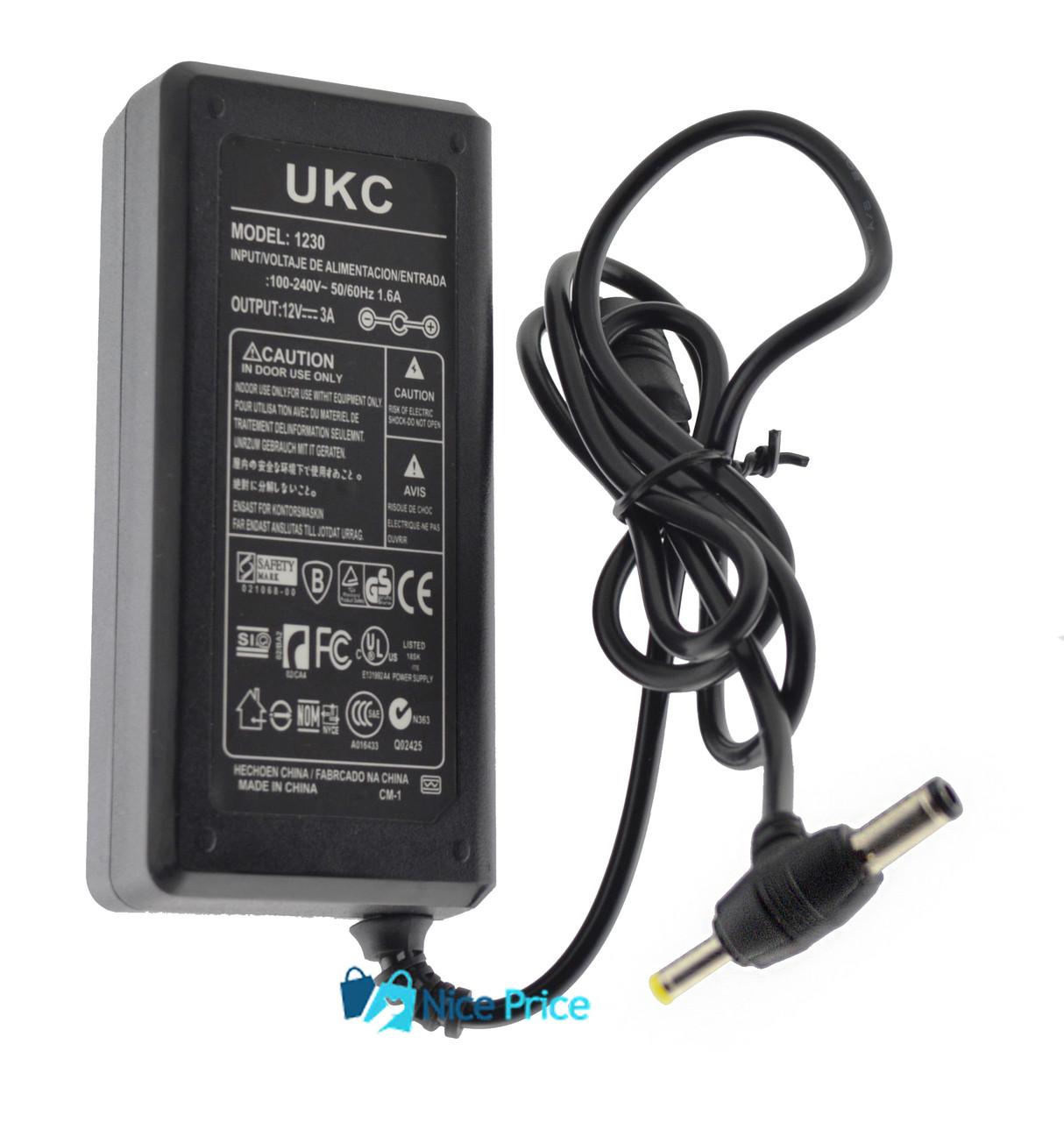 Блок питания UKC 12V 3A (1230) 5.5/2.1 и 3.7х2.2 мм + кабель питания