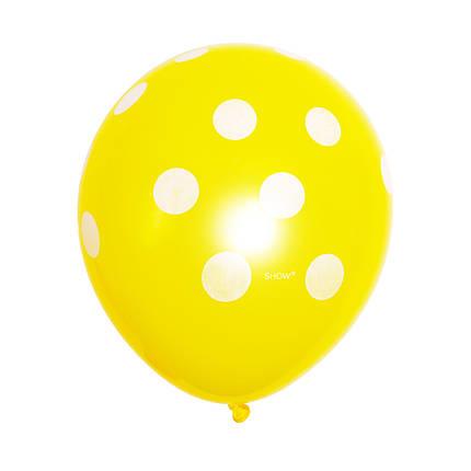 Шар 12/30см желтый в белый горох горошек (Артшоу), фото 2