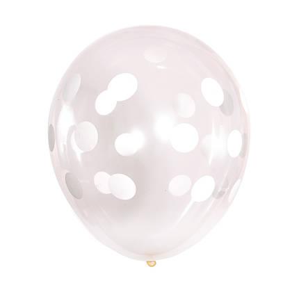 Шар 12/30см прозрачный горох горошек кристалл (Артшоу), фото 2