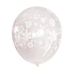 Шар 12/30см Снежинки и кружочки на прозрачном Новый год Артшоу (Artshow)