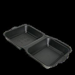 Ланч-бокс ЧЁРНЫЙ HB-9 УПАКОВКА 15шт (маленький) 185x155x70 (PS полистирол)