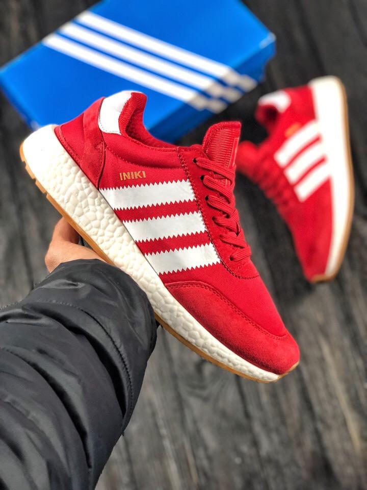 Мужские кроссовки в стиле Adidas Iniki (red/white), мужские красные кроссовки адидас иники (Реплика ААА)
