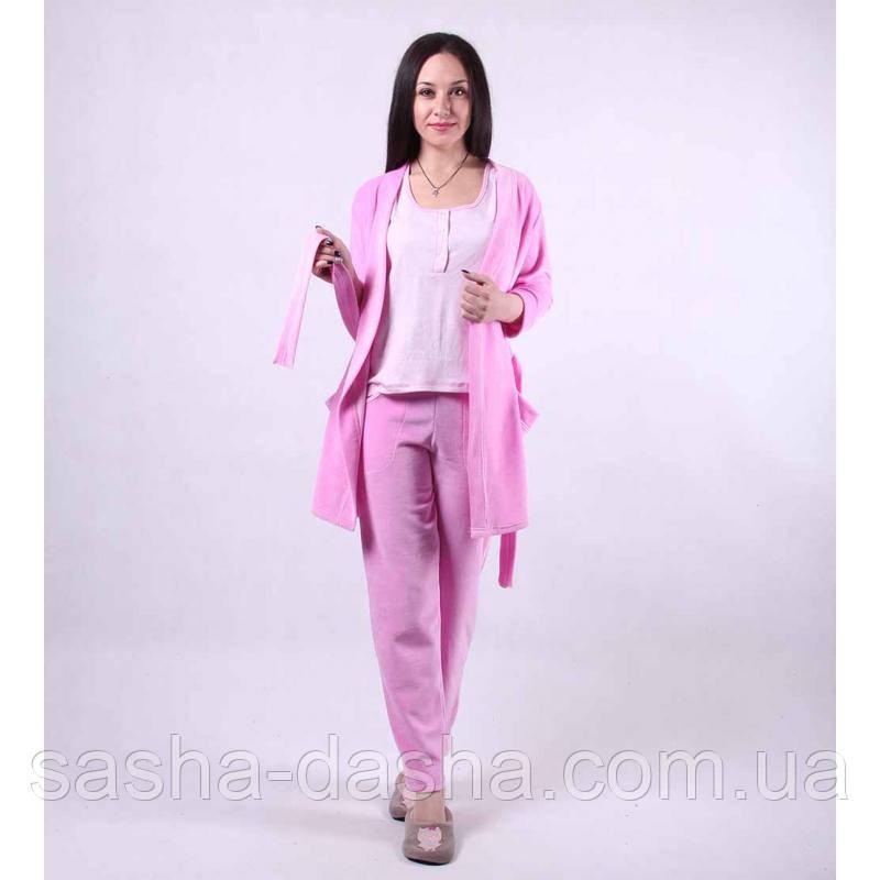 Комплект домашний велюровый. Пижама и халат.