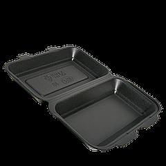 Ланч-бокс ЧЁРНЫЙ HB-10 УПАКОВКА 15шт (средний) 240x155x70 (PS полистирол)