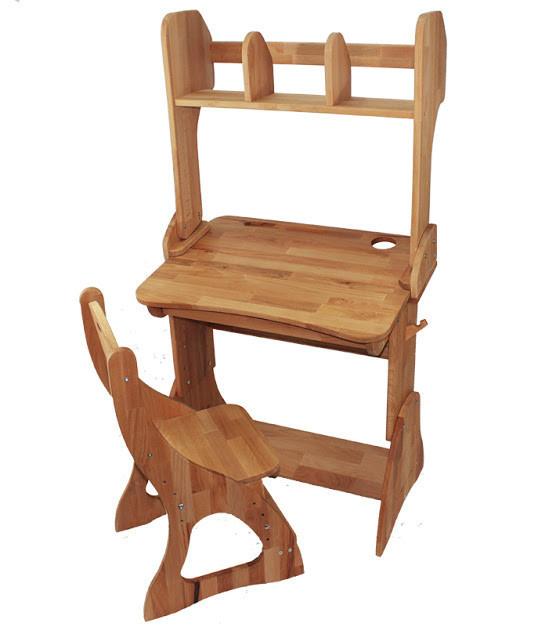 Комплект одноместный: парта Растишка с надстройкой и ящиком + стул (ширина 70 см) дерево бук ТМ Mobler