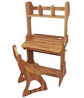 Комплект одноместный: парта Растишка с надстройкой и ящиком + стул (ширина 70 см) дерево бук ТМ Mobler, фото 1