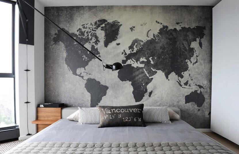 Трафарет карта мира для декора под покраску, одноразовый 80 х 135 см
