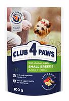 Пауч корм Клуб 4 лапы Premium для взрослых собак,мелких пород, курица в желе, 100 г