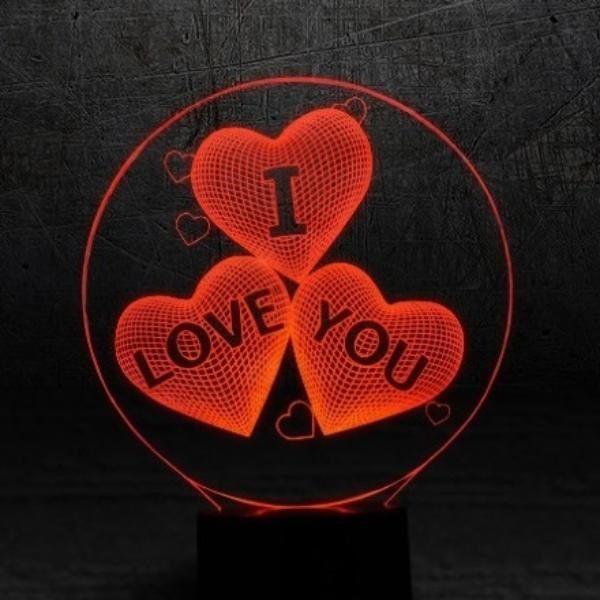 Ночник светильник  3D Сердца I love you 3 цвета подсветки