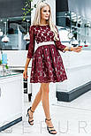 Бордовое вечернее платье мини с поясом, фото 2