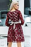 Бордовое вечернее платье мини с поясом, фото 3