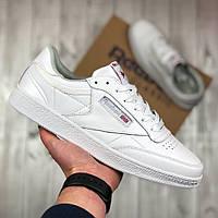 Мужские белые кроссовки Reebok Classic (white), мужские кеды Reebok Classic, белые кеды рибок класик