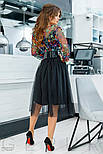 Пишна сукня з яскравим принтом і широким поясом, фото 3