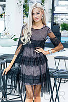 Стильное розово-черное вечернее платье сеткой