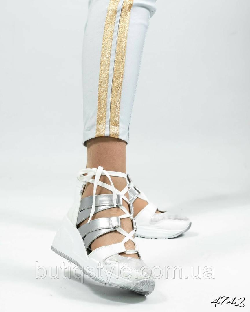 5b2117fbb Женские кроссовки летние открытые белый/серебро натуральная кожа ...