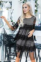 Стильное серо-черное вечернее платье сеткой