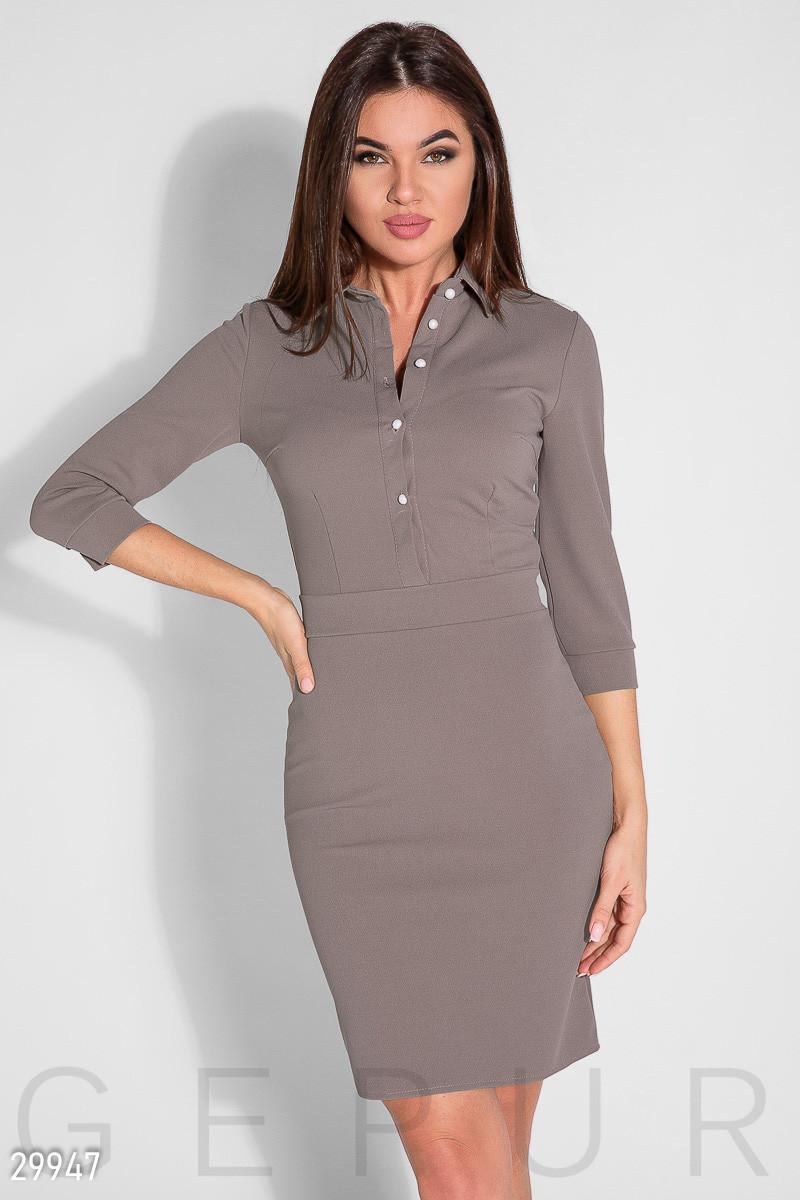 Повседневное темно-коричневое облегающее платье