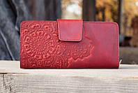 Гаманець із якісної шкіри зроблений вручну червоний