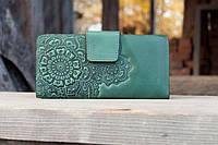 Гаманець із якісної шкіри зроблений вручну зелений