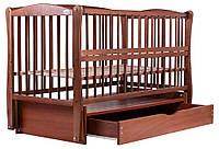 Детская кроватка из БУКА лакированая цвет ТИК  (с маятником+ящик) ЛЮКС, фото 1