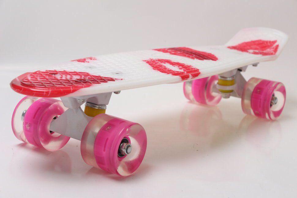 """Пенни Борд Penny Board Принт 22"""" LED-колеса - Помада 54 см"""