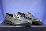 Кожаные мужские демисезонные мокасины синие Bertoni-shoes (размеры:40,42,43,45), фото 2