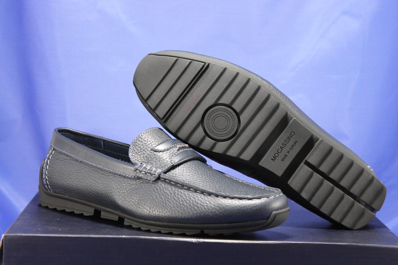 Кожаные мужские демисезонные мокасины синие Bertoni-shoes (размеры:40,42,43,45)