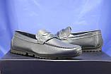 Кожаные мужские демисезонные мокасины синие Bertoni-shoes (размеры:40,42,43,45), фото 6