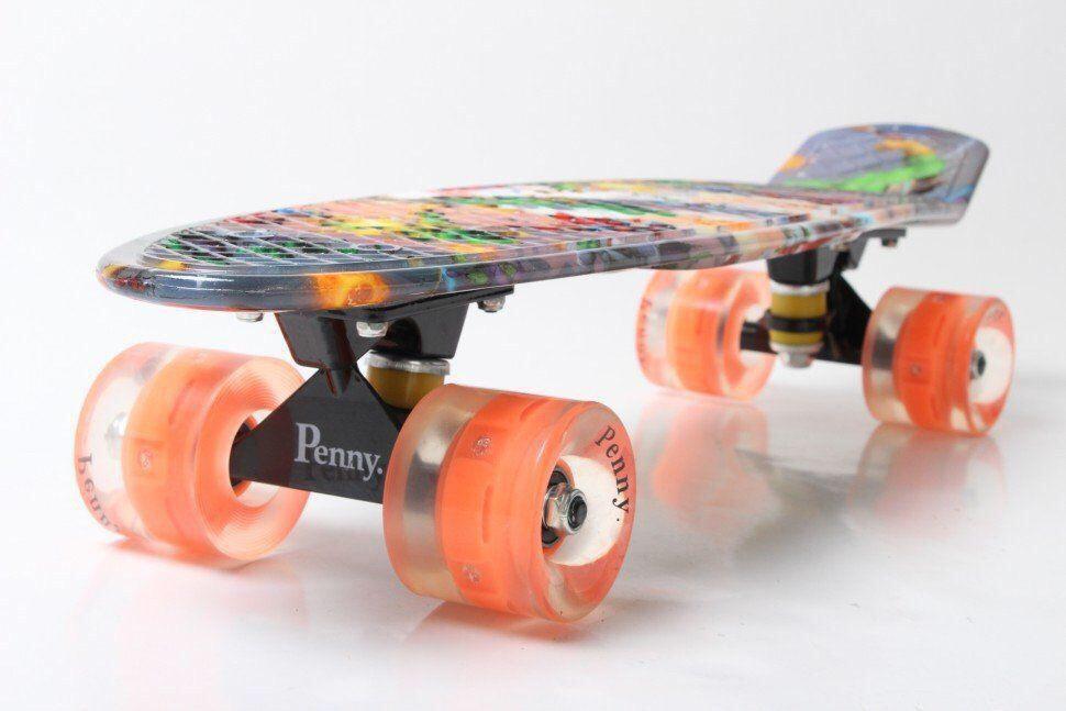 "Пенни Борд Penny Board Принт 22"" LED колеса - Человек-Паук 54 см"