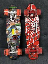 """Пенни Борд Penny Board Принт 22"""" LED колеса - Человек-Паук 54 см, фото 3"""