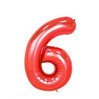 Большой воздушный шар в форме цифры 6 из фольги. 1 м.  Цвет красный