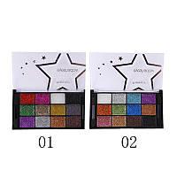 Тени 12-ти цветные блестящие для век Farres YF-1205