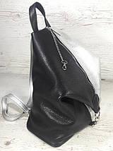 """297 Натуральная кожа, Городской рюкзак кожаный черный рюкзак женский серебро рюкзак с карабином """"антивор"""", фото 3"""