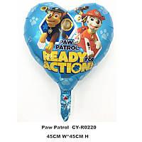 """"""" Щенячий патруль"""" фольгированный воздушный шар голубое сердце 45 см"""
