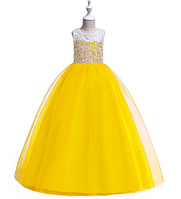 Платье ярко-желтое бальное выпускное длинное в пол нарядное для девочки в садик или школу, фото 1