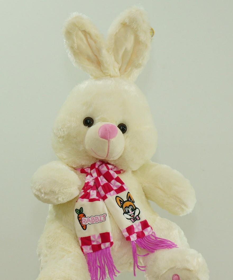 На подарок мягкая игрушка Зайка 58 см в красивом шарфе плюшевая музыкальная игрушка