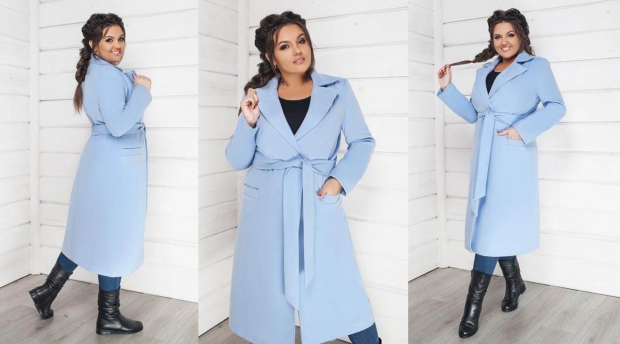 3a74ad84d86a Женское стильное кашемировое пальто больших размеров 48-58 голубое, фото 1